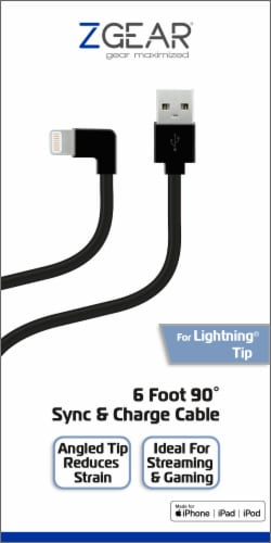 ZGear 90 Degree Tip for Apple Lightning Sync & Charge Cable - Black Perspective: front