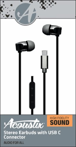 Acoustix Stereo Earbuds with USB C Connector - Black Perspective: front