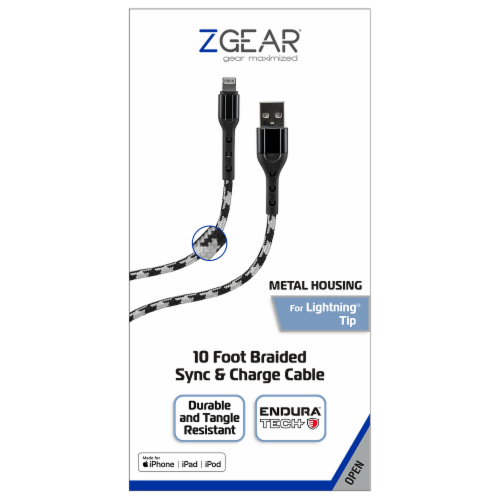 ZGear 10 Foot Braided Sync & Charge Cable Perspective: front