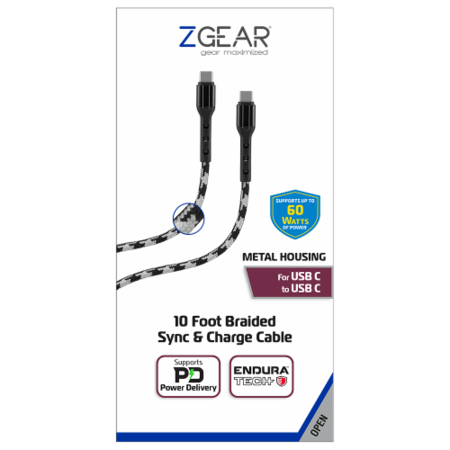 ZGear 10 Foot Braided Sync & Charge Cable - White/Black Perspective: front