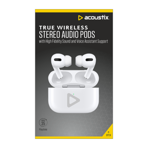 Acoustix True Wireless Stereo Audio Pods - White Perspective: front