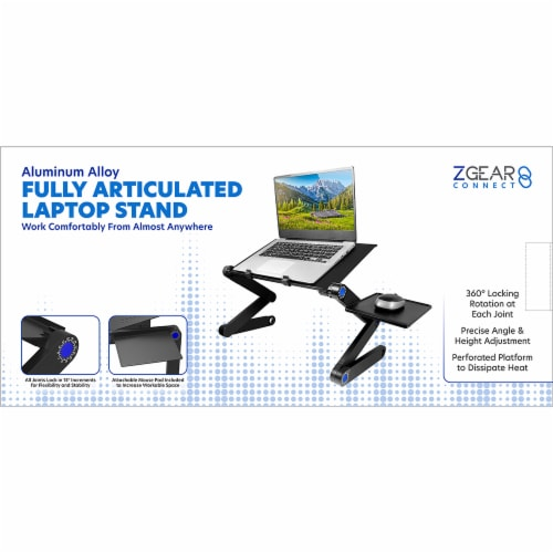 ZGear Aluminum Alloy Fully Articulated Adjustable Laptop Stand Perspective: front