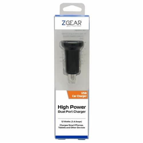 ZGear High Power Dual Port USB Car Charger - Black Perspective: front