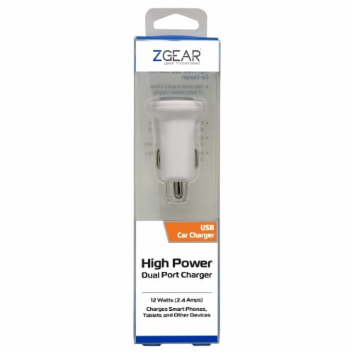 ZGear High Power Dual Port 12 Watts USB Car Charger - White Perspective: front