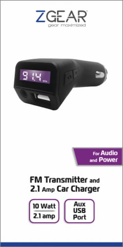 ZGear FM Transmitter and USB Car Charger - Black Perspective: front