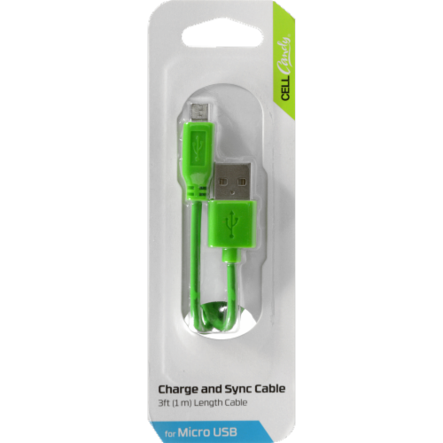 CELLCandy Charge and Sync Micro USB Cable - Green Perspective: front