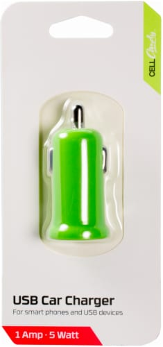 CELLCandy Ultra Low Profile USB Car Charger - Sour Apple Green Perspective: front