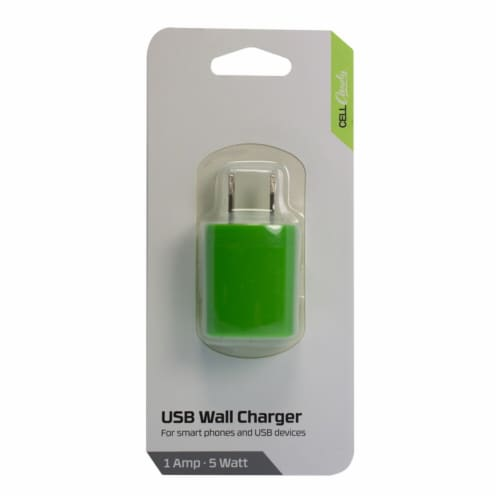 CELLCandy USB Wall Charger - Sour Apple Green Perspective: front