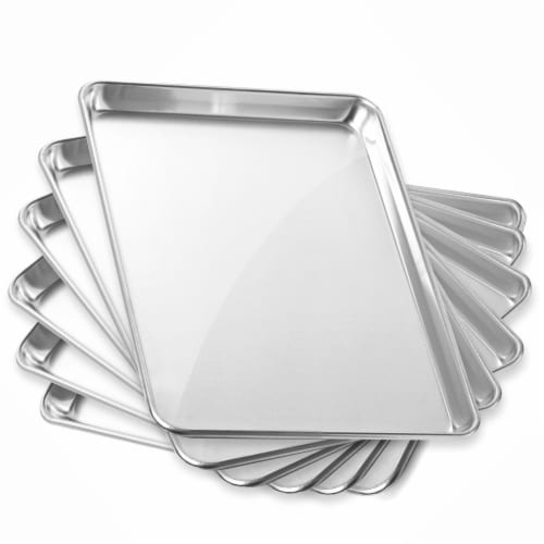 6 Pans Commercial Grade Aluminum Cookie Sheets by GRIDMANN Perspective: front