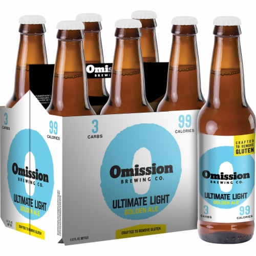 Omission Brewing Co. Gluten Free Ultimate Light Golden Ale Perspective: front