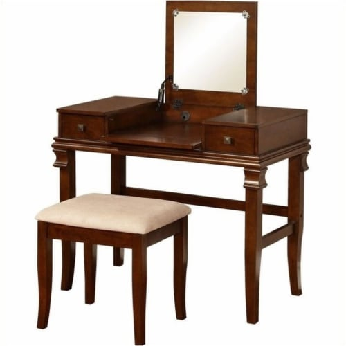 Pemberly Row Vanity Set in Walnut (2 Pieces) Perspective: front