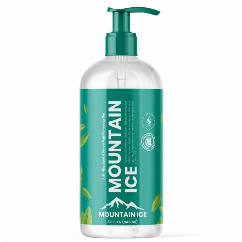 Mountain Ice Arthritis, Joint & Nerve Pain Relief Gel 32 oz Pump Bottle Perspective: front