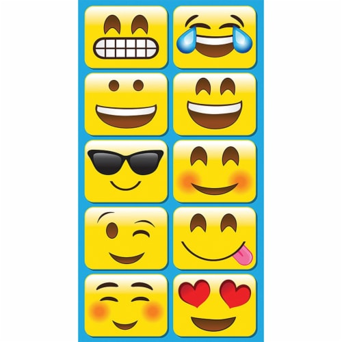 Non-Magnetic Mini Whiteboard Erasers, Emojis, Pack of 10 Perspective: front