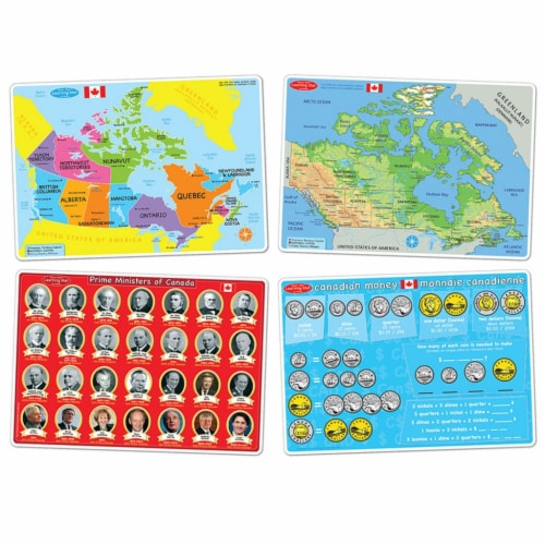 Smart Poly™ Learning Mats, 12  x 17 , Double-Sided, Canadian Education, Set of 4 Perspective: front