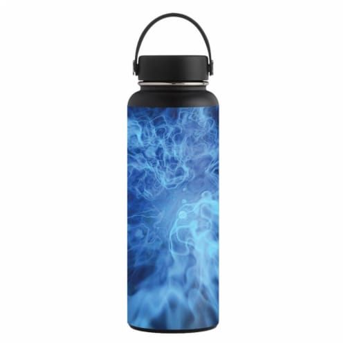 MightySkins HFWI40-Blue Mystic Flames Skin for Hydro Flask 40 oz Wide Mouth - Blue Mystic Fla Perspective: front