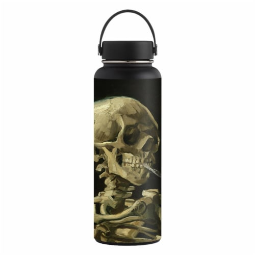 MightySkins HFWI40-Skull With Cigarette Skin for Hydro Flask 40 oz Wide Mouth - Skull with Ci Perspective: front