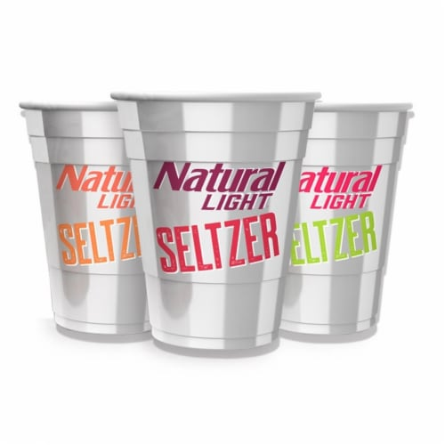 Natural Light 811464 Natural Light Seltzer Reusable Plastic Cups - Pack of 3 Perspective: front