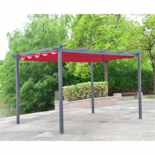 Aleko 13 x 10 ft. Diy Aluminum Outdoor Retractable Canopy Pergola - Burgundy Perspective: front