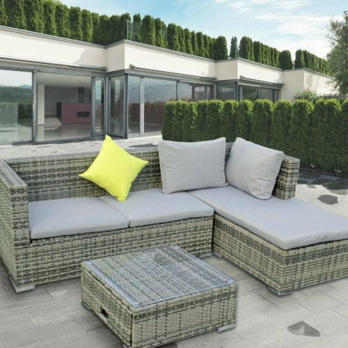 ALEKO RF3NGRAY-UNB Rattan Wicker Indoor & Outdoor Sectional Furniture Lounge & Storage Table Perspective: front