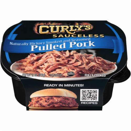 Curly's Sauceless Hickory Smoked and Seasoned Pulled Pork Perspective: front