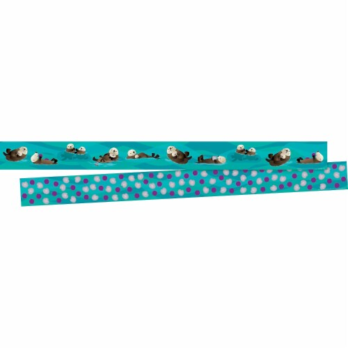 Barker Creek 2004958 3 x 35 in. Sea & Sky Otters Double Sided Trimmer - 12 Strips Perspective: front