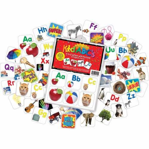 Barker Creek 2026383 Learning Magnets A to Z Letters with Pictures - Set of 60 Perspective: front