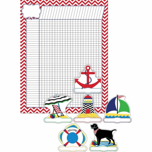 Barker Creek 1593747 Nautical Chevron Incentive Chart & Accent Set, Set of 37 Perspective: front