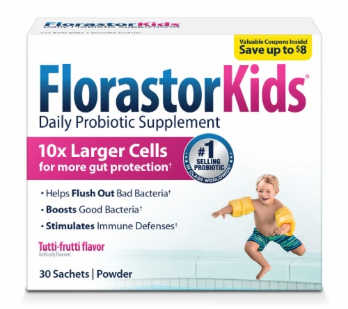 FlorastorKids® Daily Probiotic Supplement Powder Sachets 250mg Perspective: front