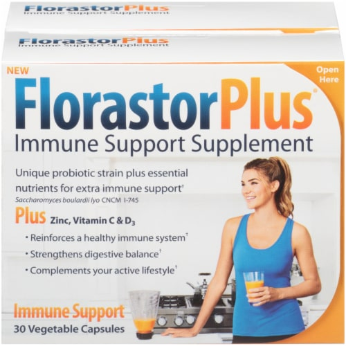 FlorastorPLUS Immune Support Capsules 250mg 30 Count Perspective: front