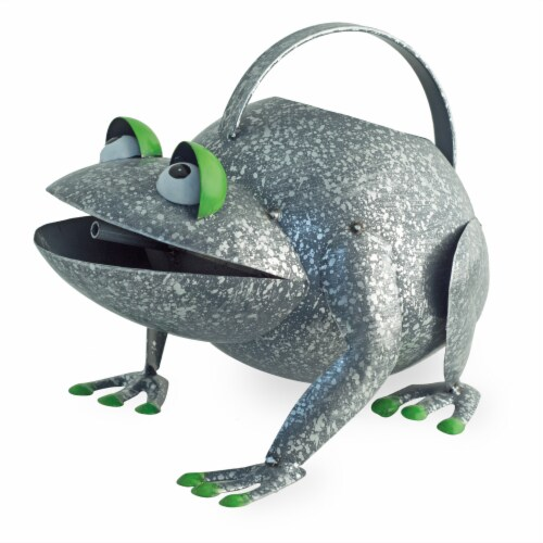 Boston International Frog Watering Can Outdoor Decor - Silver Perspective: front