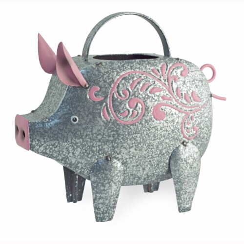 Boston International Pig Watering Can Outdoor Decor - Silver Perspective: front