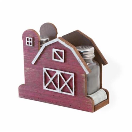 Boston International MJA18501 Red Barn Salt & Pepper Shaker Set Perspective: front