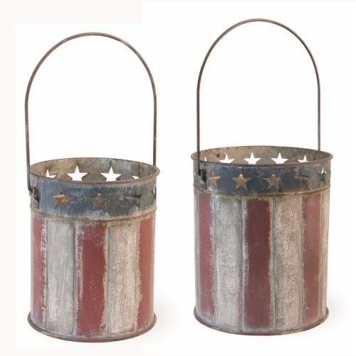 Boston International HCC19220 Stars & Stripes Planters - Set of 2 Perspective: front