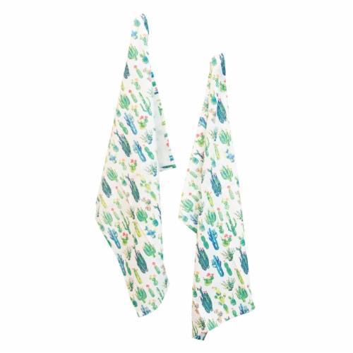 Boston International Green Cactus Tea Towel Perspective: front
