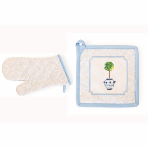 Boston International Blue Topiary Oven Mitt & Pot Holder - Set of 2 Perspective: front