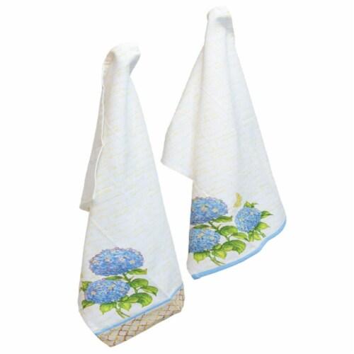 Boston International Heirloom Tea Towel, Blue - Set of 2 Perspective: front