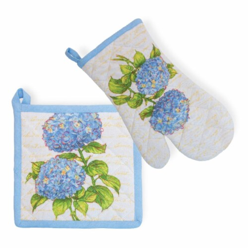 Boston International Heirloom Oven Mitt & Pot Holder Set, Blue Perspective: front