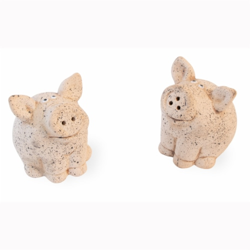 Benzara Piggy Salt and Pepper Shakers Perspective: front