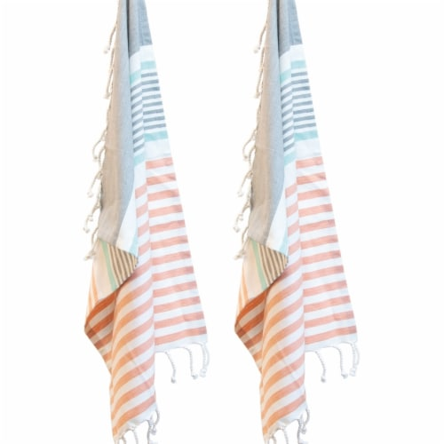 Boston International Tea Towel Hadley - Pink/White/Blue Perspective: front