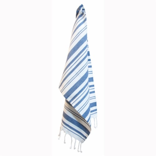 Boston International Striped Towel - Blue/White Perspective: front
