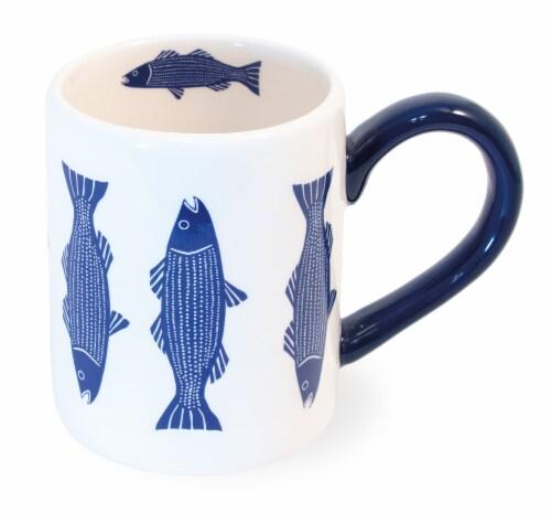 Boston International Striper Mug - White/Blue Perspective: front