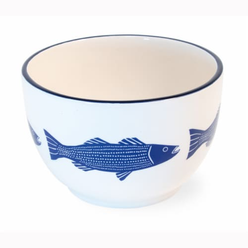 Boston International Striper Bowls - Blue/White Perspective: front