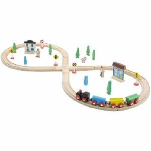 35 Pieces Wooden Train Set with Plastic Storage Tub Perspective: front