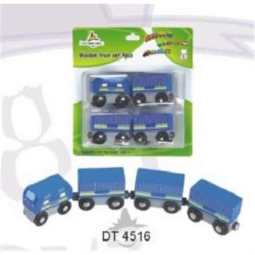 4 Pieces Blue Wooden Train in Blister Pkg Perspective: front