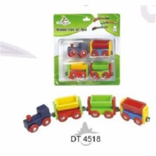 4 Pieces Wooden Trains in Blister Pkg-multi color Perspective: front