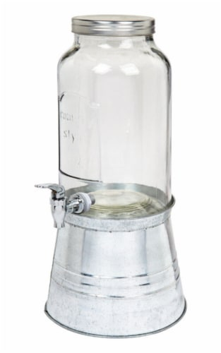 Circle Glass Galvanized Beverage Dispenser Perspective: front