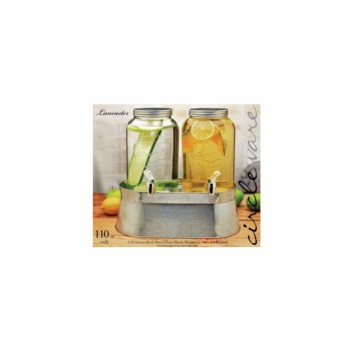 Circleware 92022 120 oz Lancaster Mini Dual Drink Dispenser with Chrome Color Spigot - Metal Perspective: front