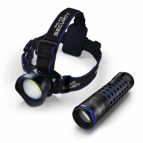 Police Security Bright Bundle Breakout Headlamp & Barricade Flashlight Perspective: front