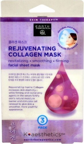 Earth Therapeutics  K-aesthetics™ Facial Sheet Mask Rejuvenating Collagen Mask Perspective: front