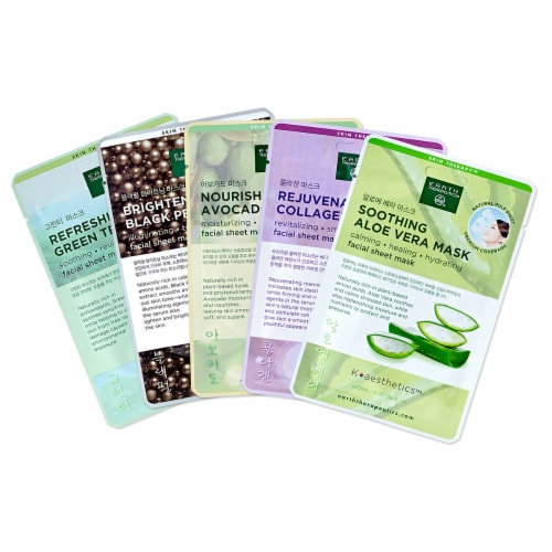Earth Therapeutics Assorted Facial Sheet Masks Perspective: front